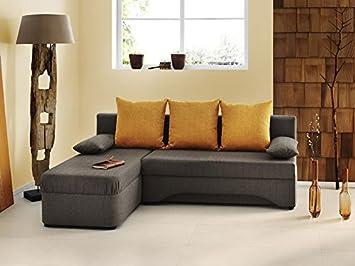 Ecksofa Pollux 191x142cm hellbraun orange Schlafsofa Couch PolstereckeSofa Wohnlandschaft Eckcouch