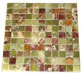"Multi Green Onyx 1x1 Polished Mosaics Meshed on 12"" X 12"" Tiles for Bathroom Flooring, Kitchen Backsplash, Shower Walls"