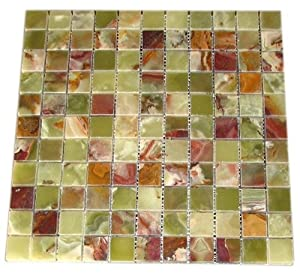 "Multi Green Onyx 1x1 Polished Mosaics Meshed on 12"" X 12"" Tiles for Bathroom Flooring, Kitchen Backsplash, Shower Walls"