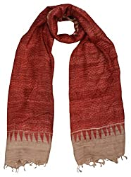 Sumona and Me Women's Silk Dupatta (Red and Beige)