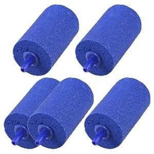 5 Pcs Cylinder Blue Bubble Air Stones 30mmx70mm for Aquarium Fish Tank
