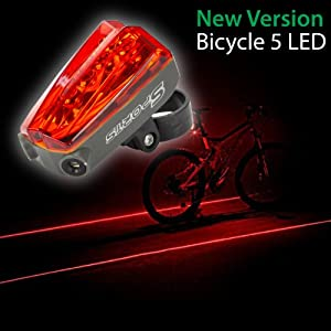 SAVFY® New Bicycle Bike Red LASER Beam Tail Light 5 LED Rear Light Lamp, with 3 Flashing Modes