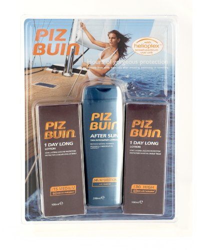 Piz Buin 1 Day Long SPF 15 SPF 30 Suntan Lotion + Aftersun Set