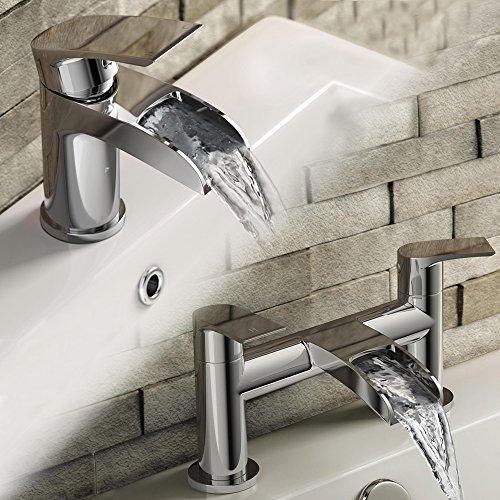 Luxury Waterfall Basin Sink Mixer Tap and Modern Chrome Bath Filler Tap Set