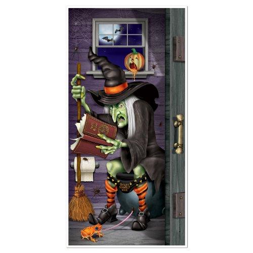 Halloween Tür-Deko: Hexe auf der Toilette - Einheitsgröße