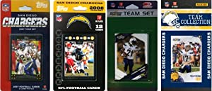 NFL San Diego Chargers 4 Different Licensed Trading Card Team Sets by C&I Collectables