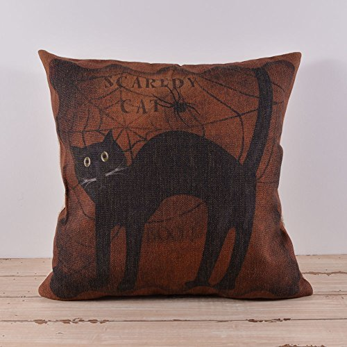 45X45Cm Halloween All Hallows' Eve Black Cat Burlap Cushion Covers Pillow Cases With 1Pc Free Coaster front-15496