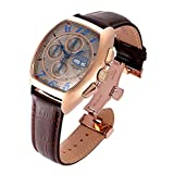 Invicta Men's 'Reserve' Swiss Automatic Gold and Leather Casual Watch, Color:Brown (Model: 18922)