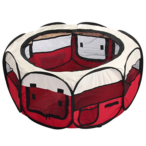 celldeal-folding-fabric-pet-play-pen-puppy-dog-cat-rabbit-guinea-pig-playpen-run-cage-red