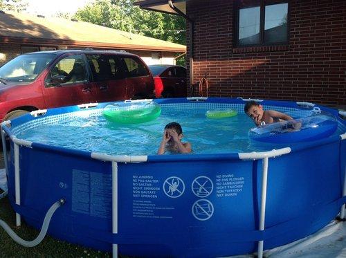 Intex 12 foot by 30 inch metal frame pool set patio lawn garden - Intex 12x30 metal frame pool ...