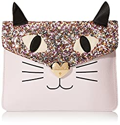 Betsey Johnson Cray Creatures Meow Clutch, Blush, One Size