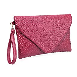 BMC Fashion Forward Cherry Red Faux Leather Envelope Style Studded Square Circle Fashion Clutch