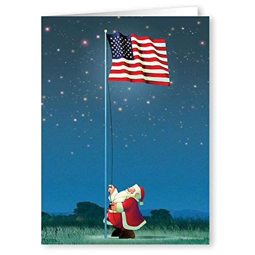 Patriotic Christmas Card - 18 Cards & Envelopes - American Flag ...