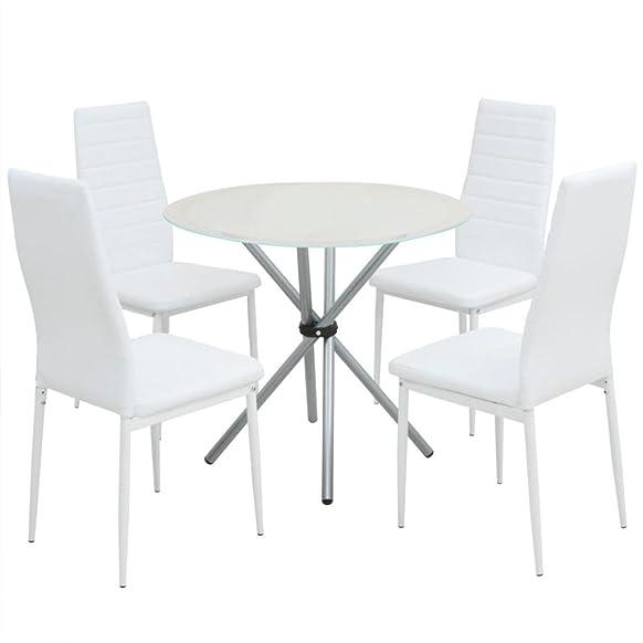 vidaXL Set da Pranzo Tavolo e 4 Sedie Sala Cucina Acciaio Pelle PU Bianca