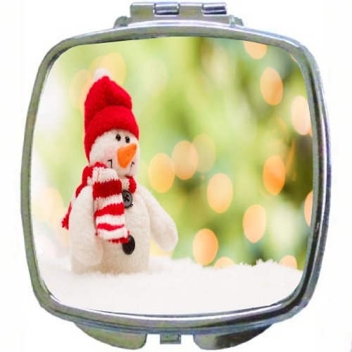 Rikki Knighttm Cute Snowman Over Abstract Background Design Compact Mirror