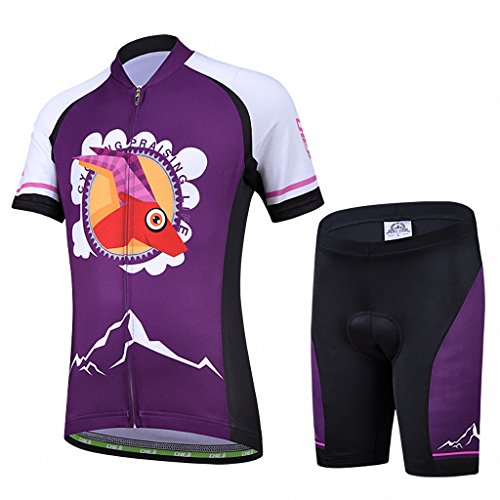 Ateid Children Boys' Girls' Cycling Jersey Set Short Sleeve with 3D Padded Shorts Antelope 7-9 Years (Girls Cycling Jersey compare prices)
