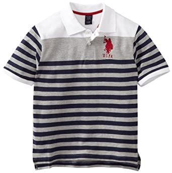 U.S. Polo Assn. Boys 8-20 Engineered Striped Polo, Navy, 14-16