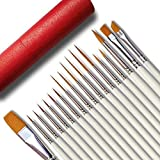 18 Pcs Detail Fine Miniature Figurine Paint Brushes Mini Micro Paintbrush Painting Kit Set | Extra Fine Point Tip | Nylon for Fabric Citadel Face Model Leather Acrylic Watercolor Oil by Afantti (Color: White, Tamaño: 18 PCS)