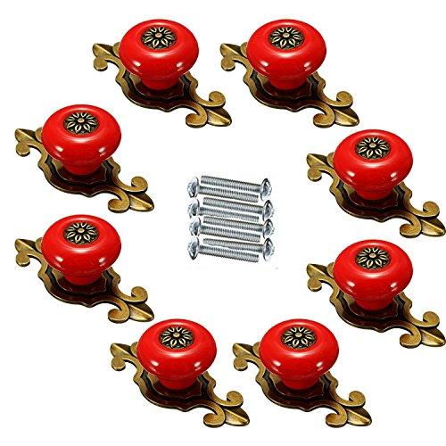 FBSHOPTM-8pcs-Retro-Keramik-Trknauf-MbelKnopf-Mbelgriffe-fr-Kche-Schrnke-Kleiderschrank-Kommode-SchubladeSchranktr-Schlafzimmer-und-Badezimmer-etc-Vintage-DIY-Home-DekoBronze-rot
