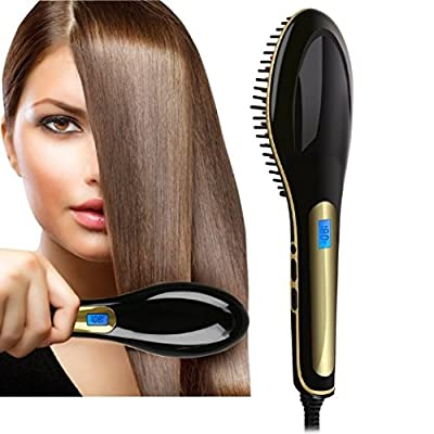 Electric Digital Black Heating Hair Straightener Brush With LCD Display Hair Comb for Professional Faster Straightening Styling by Jecnovo