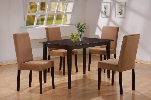 Casual Style Cappuccino Finish Wood Dining Table