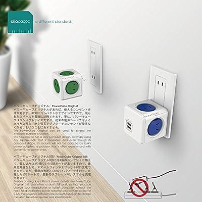 PowerCube パワーキューブ 電源タップ AC4口 USB2口 コンセント 直付型 レッド/赤