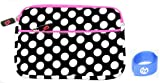 iPad 1 iPad 2 and The new iPad / iPad HD / iPad 3 Polka Dot Neoprene Sleeve Case with Front Zipper Pocket Fits 16GB 32GB 64GB Wi-Fi and Wi-Fi + 3G Color Black - White with Magenta Zipper Trim + EnvyDeal Velcro Cable Tie