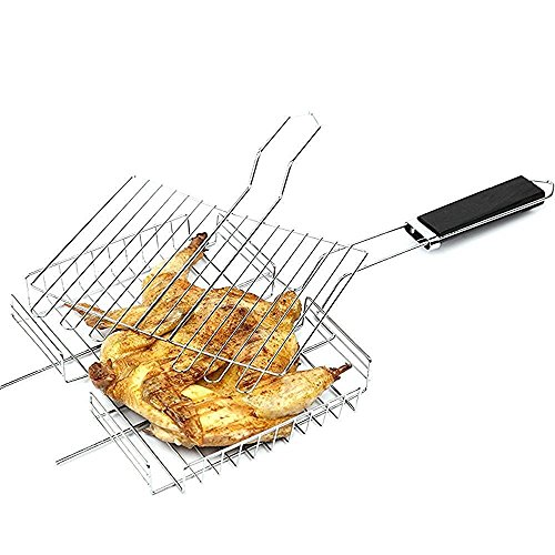 Noza Tec Stainless Grilling Basket Nonstick Fish Grill Baskets Folding for Roast BBQ Barbecue with Wood Handle (Fish Rack For Grilling compare prices)