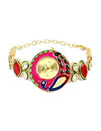 Peacock Theme Multicolor Enamel Red Glass & White Cubic Zirconia Gold Plated Brass Watch - B01C3THUPS
