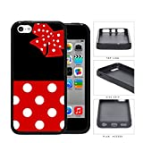 Cute Red and White Polka Dots Pattern on Bottom and Bow with Black Background Hard Rubber TPU Phone Case Cover iPhone 5c