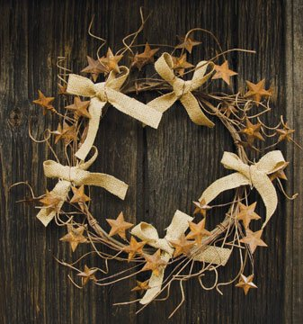 Burlap Bow Rusty 3-D Star Wreath Country Primitive Wall Décor