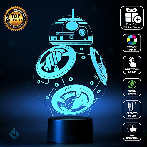 Star Wars BB-8 Lighting Decor Gadget Lamp + Sticker Decor for Perfect Set, Awesome Gift (MT033)