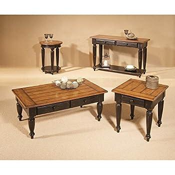 Progressive Furniture 44542-04 Country Vista End Table, Antique Black and Oak