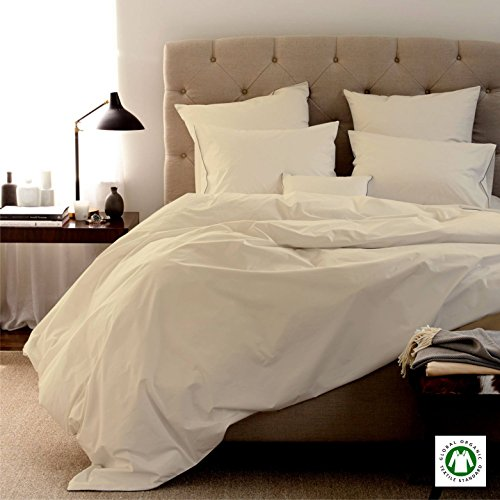 MADE IN USA Sheet Set 100 % Organic Cotton Italian Finish 800 Thread Count, IVORY GOTS Certified 15 inches Deep Pocket Solid QUEEN (Usa Made Sheets compare prices)