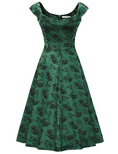MUXXN Women's 1950s Scoop Neck Off Shoulder Cocktail Dress(XL,Green)