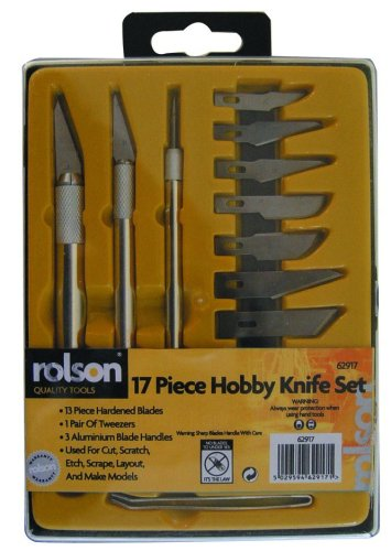 rolson-62917-hobby-knife-tools-set-in-plastic-case-17-pieces
