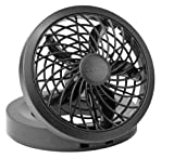 "O2COOL 5"" Portable USB or Electric Fan, Black"
