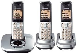 Panasonic KX-TG6423ES DECT Trio Digital Cordless Phone Set with Answer Machine - Silver