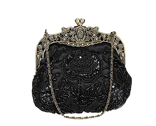 MOACC Vintage Beaded Floral Satin Handbag Evening Purse Wedding Prom Clutch