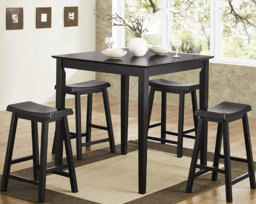 dining table and stools pub set in black finish black friday usa