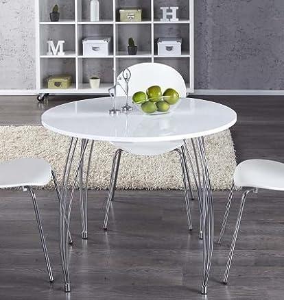 Tavolo da pranzo tavolo compatto da cucina ARRON, bianco, rotondo, diametro 90 cm