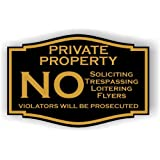 """Private Property No Soliciting No Trespassing No Flyers Sign 3"""" x 4.5"""" (Black with Gold Letters)"""