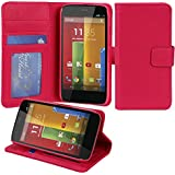 Moto G Case, Abacus24-7 Motorola Moto G Wallet Case [Book Fold] Leather Moto G Flip Cover with Folding Stand, Transparent ID holder, Credit Card Slots - Blue Flip Case for Motorola Moto G, 2013 (1st Gen.)