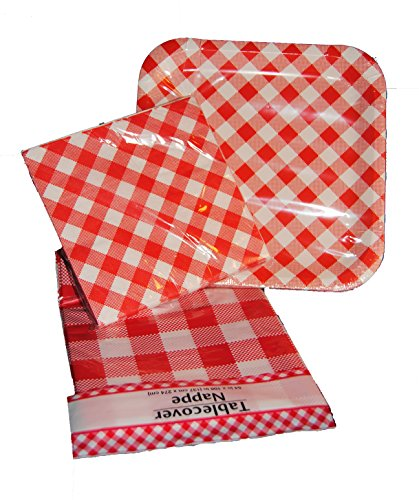 Green and white checkered paper napkins