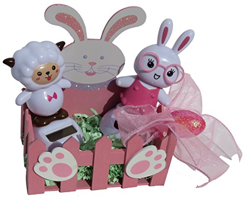 Solar Powered Dancing Easter Bunny Geek Nerd and Lamb Easter Basket Gift Set Pink
