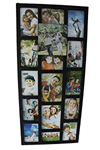 Arpan Multi Aperture Photo Picture Collage Frame - Holds 16 Photos Black or Brown (Black)