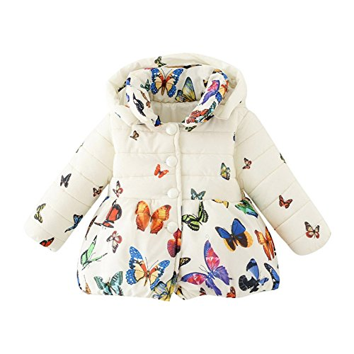 BOBORA Baby Girl Butterfly Pattern Coat Winter Warm Hoodie Down Jacket Outwear