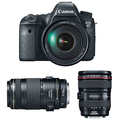 Canon EOS 6D 20.2 MP CMOS Digital SLR Camera with 3.0-Inch LCD and EF 24-105mm IS USM Lens Kit + EF 70-300mm f/4-5.6 IS USM Lens