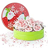 Happy Holidays, Merry Christmas Gourmet White Chocolate Candy Cane Pretzels Filled in a Reindeer Jingle Bell Round Tin, A Classic Holiday Gift For Men and Women, Teens, And Girls of All Ages, By Pistachio Gifts®