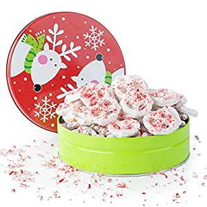 Happy Holidays, Merry Christmas Gourmet White Chocolate Candy Cane Pretzels Filled in a Reindeer Jingle Bell Round Tin, A Classic Holiday Gift For Men and Women, Teens, And Girls of All Ages